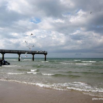 La plage d'Omaha Beach : le ponton
