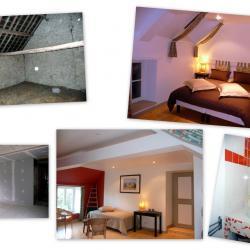 """La chambre """"Au grenier à foin, avec Monet"""" avant/après"""